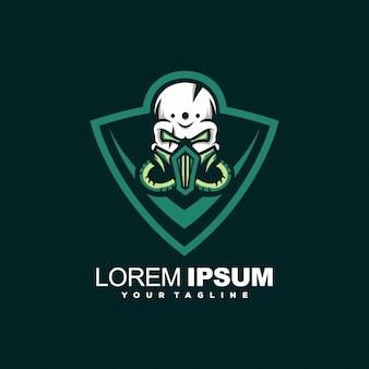 Green skull head logo design
