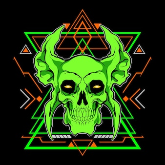 Green skull with sacred geometry for commercial use