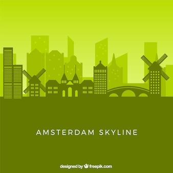 Green skyline of amsterdam