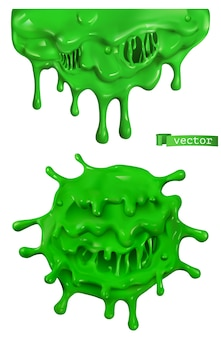 Зеленая слизь. мультяшные объекты