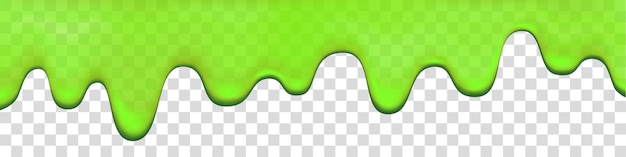 透明な背景に分離された緑のスライムドリップ。滴る絵の具。ハロウィーンの粘液の現実的な3dベクトルイラスト。