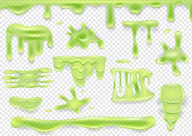 녹색 점액 드립 및 오 점 투명 배경에 고립 된 집합