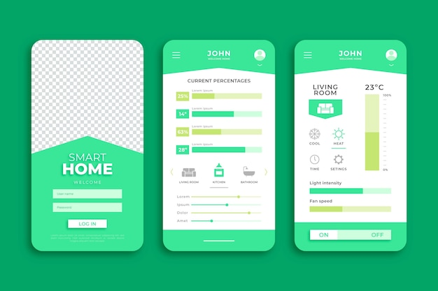 Green smart home smartphone app template