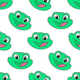 Зеленая улыбка лягушка бесшовные модели текстильной печати. отлично подходит для летней винтажной ткани, скрапбукинга, обоев, подарочной упаковки. повторять узор фона дизайн