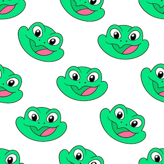 Green smile frog seamless pattern textile print. great for summer vintage fabric, scrapbooking, wallpaper, giftwrap. repeat pattern background design