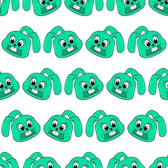 녹색 미소 토끼 원활한 패턴 섬유 인쇄입니다. 여름 빈티지 패브릭, 스크랩북, 벽지, 선물 포장에 좋습니다. 반복 패턴 배경 디자인