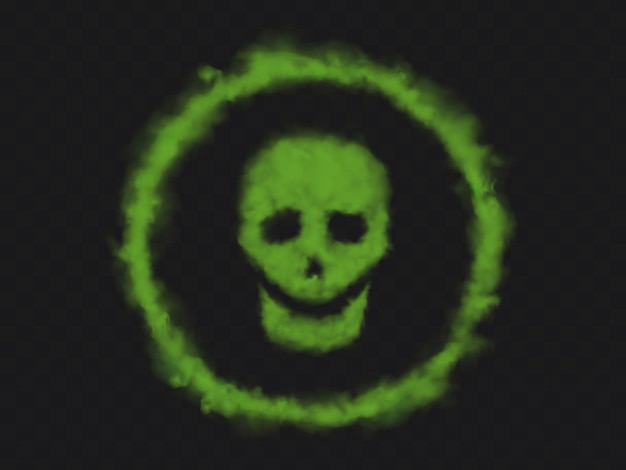Green smoke skull sign in circle
