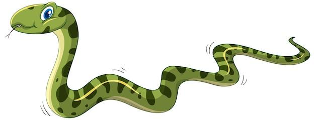 흰색 배경에 고립 된 녹색 뱀 만화 캐릭터