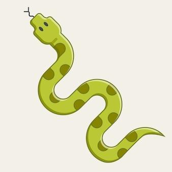 クロールの緑のヘビ。ジャングルからの危険な毒蛇。