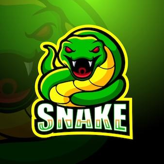 緑の蛇マスコットeスポーツイラスト