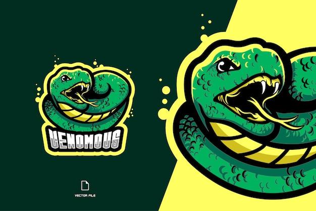 Логотип талисмана зеленой змеи иллюстрация спортивной и киберспортивной команды
