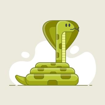 獲物に見える緑のヘビ。野生の危険で有毒な動物。