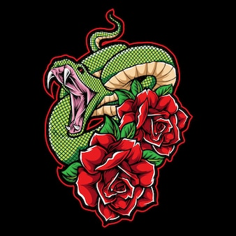 Green snake with roses tattoo illustration