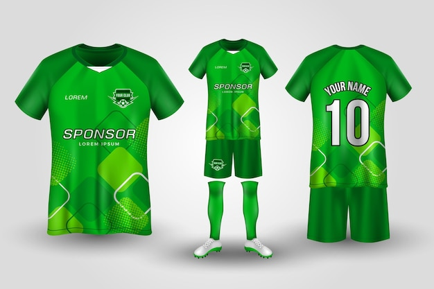 Green soccer uniform template