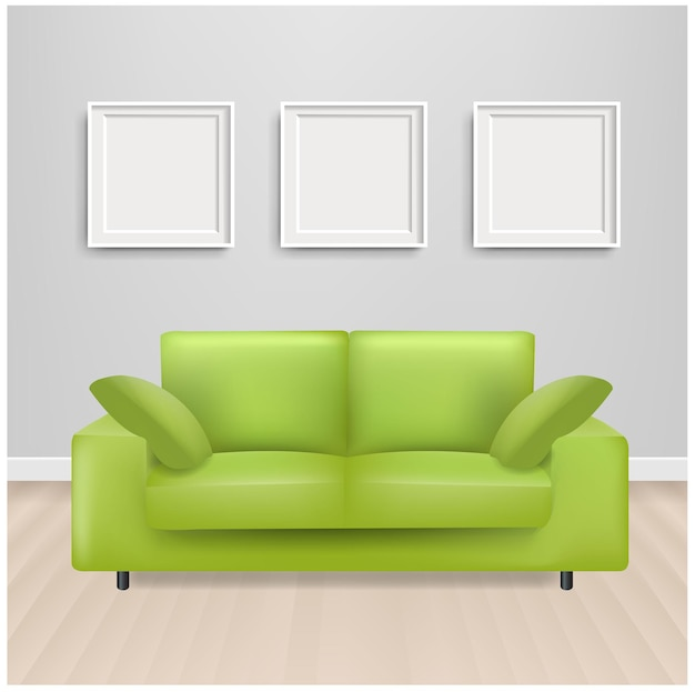Green sofa bed with and picture frame and grey background with gradient mesh