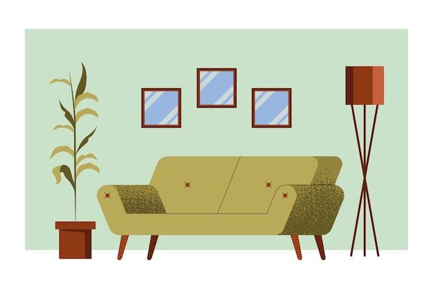 거실 장면에서 녹색 소파