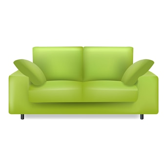 Green sofa and pillows isolated white background