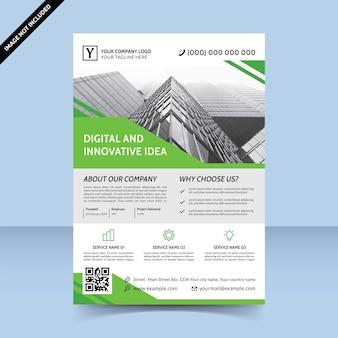 グリーンソフトデジタルと革新的なアイデアビジネスチラシテンプレートデザイン