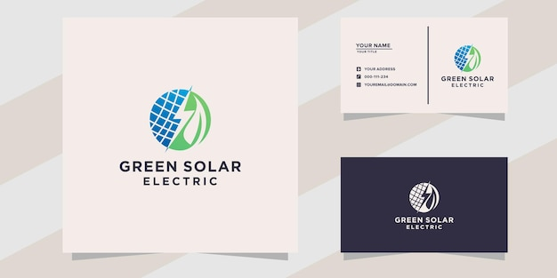 Green solar electric logo and business card template