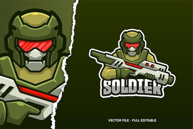 Green soldier e-sport logo template