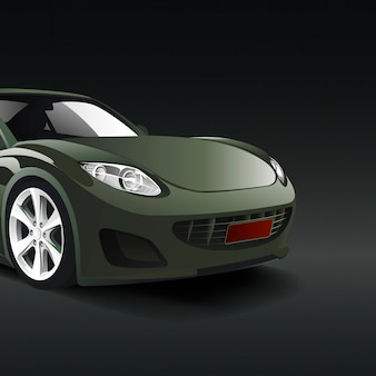 Green sports car in a black background vector