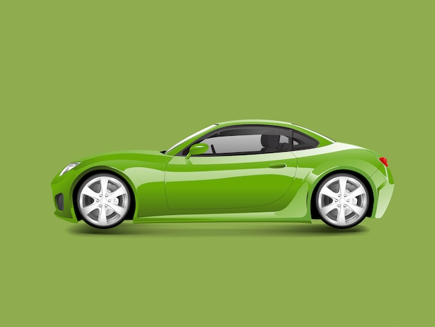 Green sports car in a green background vector