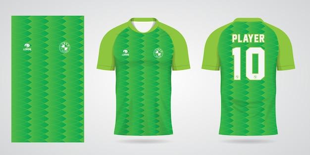 Шаблон зеленой спортивной майки для униформы команды и дизайна футболки