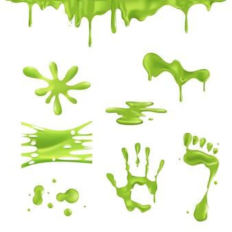 녹색 반점과 물방울 점액.