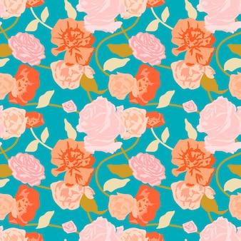 Зеленый весенний цветочный узор с фоном розовых роз