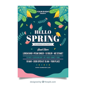 Green spring party poster template