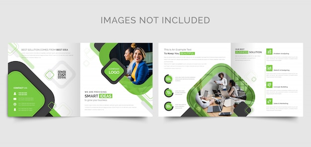 Green square business bi-fold brochure design template