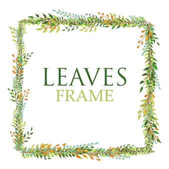 Green square leaves frame