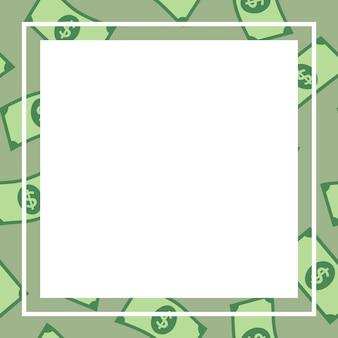 녹색 사각형/사각형 프레임, 달러 지폐 패턴 돈 벡터 금융 클립 아트
