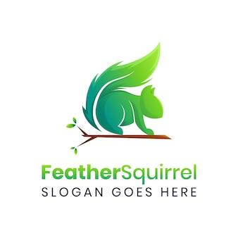 緑のリスの羽のロゴのテンプレート