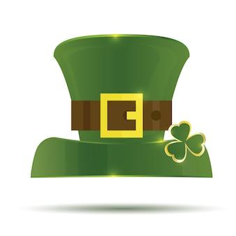 緑の聖パトリックの日帽子。白い背景で隔離の帽子。