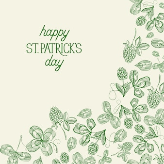 Green st patricks day botanical greeting card with inscription and hand drawn irish clover vector illustration