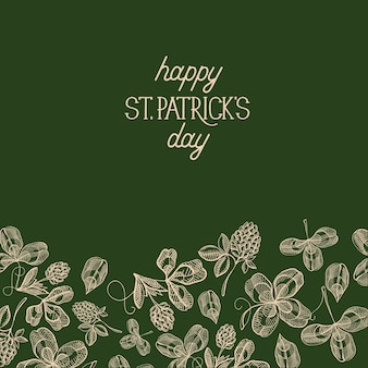 Green st. patricks day decorative card with many traditional elements under text about this holiday decorated by foliage vector illustration