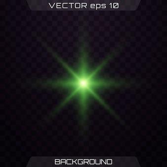 조명 효과와 녹색 별. 렌즈 플레어, 태양 플래시, 스파크.