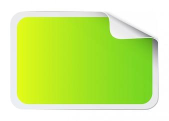 Green sticker on white