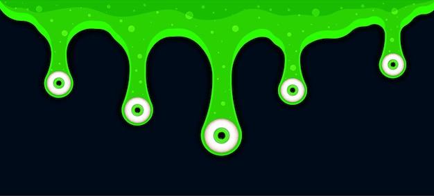녹색 끈적 끈적한 액체가 눈을 낮추며 흐르고 녹은 페인트가 떨어지고 흐릅니다.