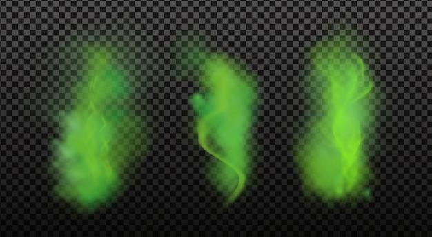 Зеленая вонь, неприятный запах, дым или отравляющие газы, химические токсичные пары. реалистичный набор зловонного дыхания или запаха пота, изолированных на прозрачном клетчатом фоне.