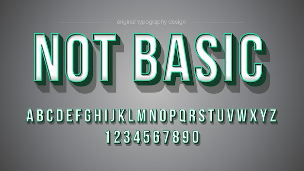 Green stroke bold shadow typography design