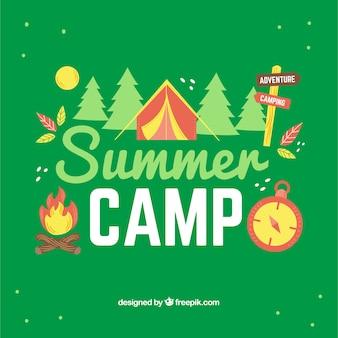 녹색 여름 캠프 배경