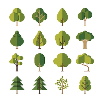Green summer forest tree flat icons