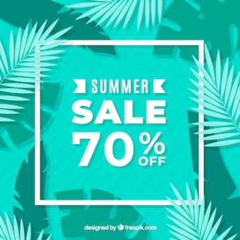 Green summer sale background with leaves
