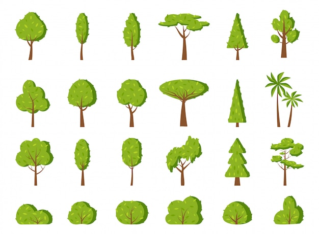 Green summer tree leaf bush flat icon set