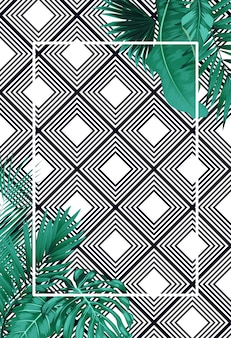Green summer with tropical leaves on  pattern