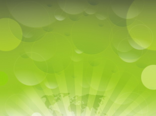 Green sunrays with circles abstract background