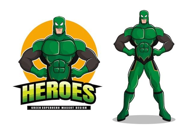 緑のスーパーヒーローのマスコットデザイン