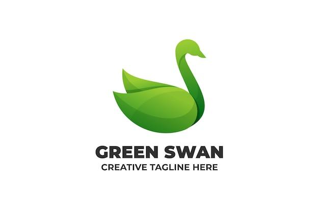 Зеленый лебедь градиент бизнес логотип